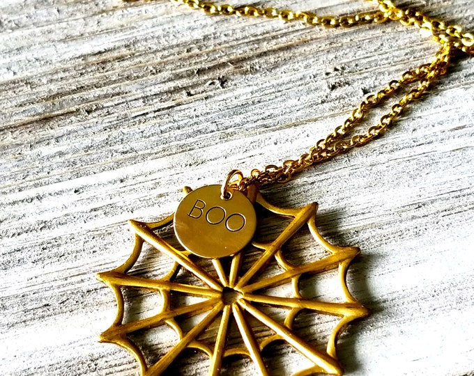 Spider Web- Boo Necklace- Halloween Necklace
