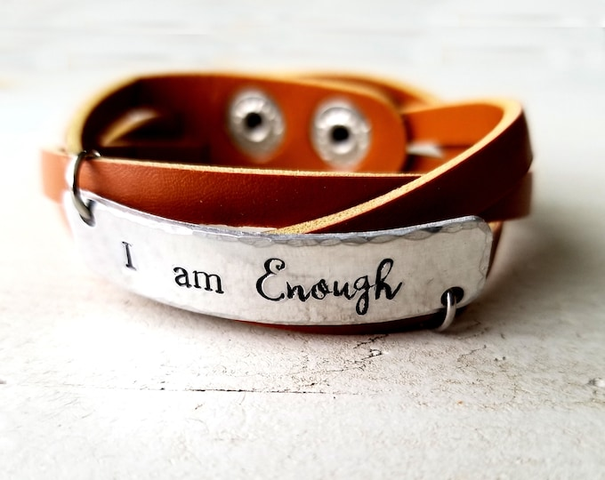 I am enough- Vegan Cuff- Faux Leather Cuff