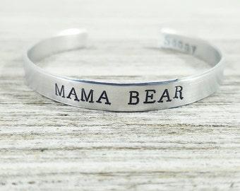 Mama Bear Cuff- Custom Bracelet- Kids names