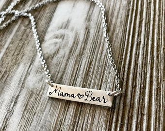 Mama Bear Bar Necklace- Mothers Day Gift- Adjustable Chain
