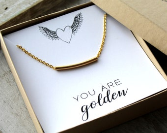 You Are Golden Necklace - Gold Bar Necklace