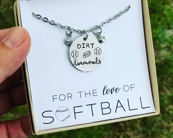Dirt & Diamonds Softball Necklace