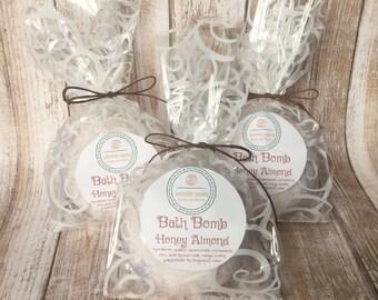 Bath Bomb in Honey Almond Scent, Mango Butter and Epsom Salt Bath, 3.5 oz or 7 oz Scented Bath Bombs, Bath Fizzy, Bath Fizzies