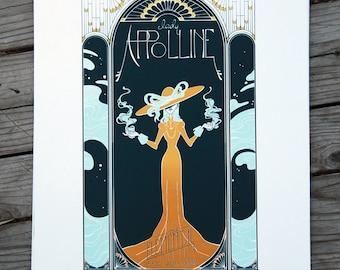 Handpulled Three Color Screenprint - The Elemental - Art Nouveau
