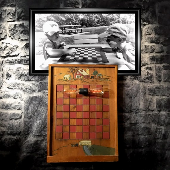 Painted Folk Art Checkerboard Game With Tray For Checkers A Etsy