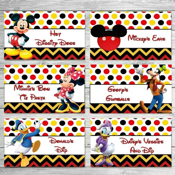 CUSTOMIZED Mickey Food Labels Mouse Clubhouse Tents Birthday Party