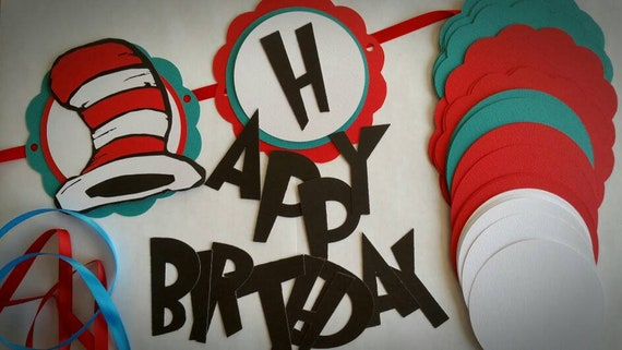 DIY Dr Seuss Happy Birthday Banner Cat In The Hat