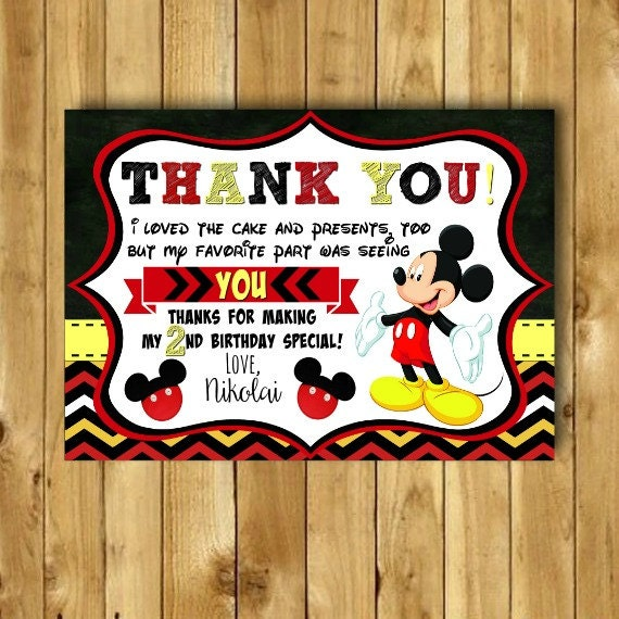 Mickey Mouse Thank You Card Mickey Mouse Birthday Thank You Etsy