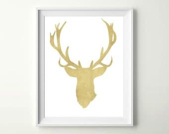Gold Deer Print, INSTANT DOWNLOAD, Christmas Printable Art, Christmas Decor, Holiday Decor, Home Decor, Office Decor Black