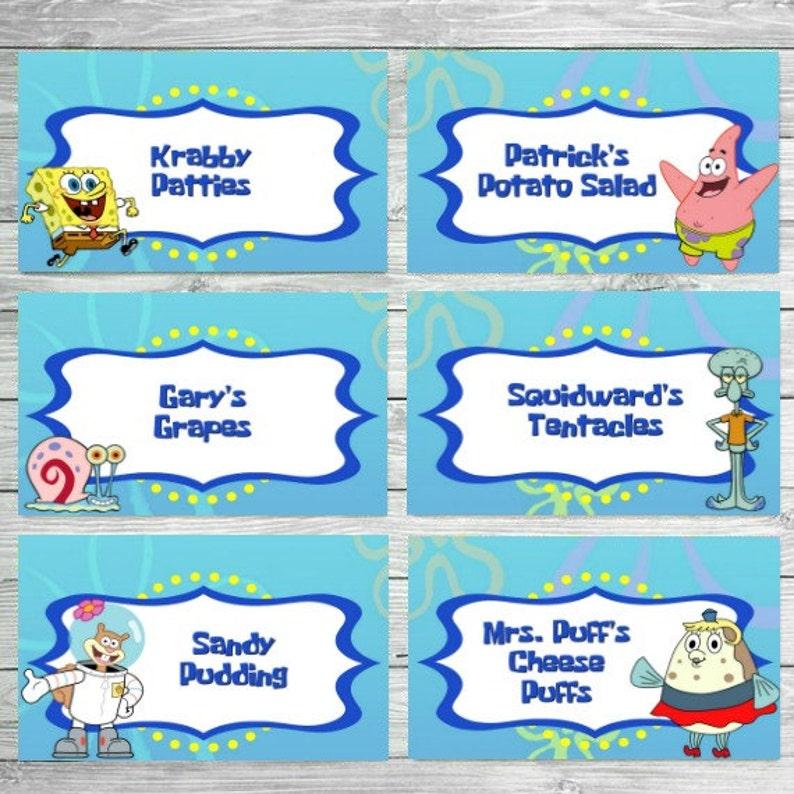 image 0  sc 1 st  Etsy & Spongebob Food Labels Spongebob Birthday Food Labels | Etsy