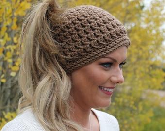 Brown messy bun hat   Messy bun hat   Crochet hat   Crochet messy bun beanie   Ponytail hat   Crochet accessories   Winter fashion