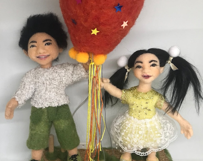 one of a kind wool sculpture soft sculpture needle felted doll art doll Lighting Festival Air Balloon