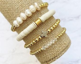 bracelet bundle My Favorite Bracelet Stack stretch pearl gold cross everyday stackable Set of 4 by Sarahndipity Jewelry || beaded