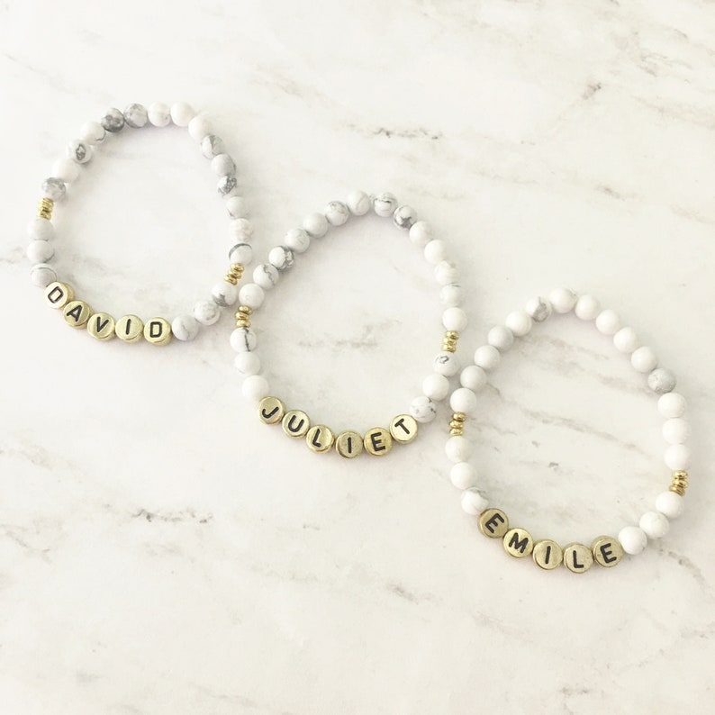 Custom Word Bracelets by Sarahndipity Jewelry  beaded White & Grey Marble