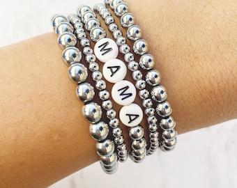 Silver Stacking Bracelets by Sarahndipity Jewelry    beaded, stretch, stackable, set, hematite, word bracelet, mama bracelet, custom word