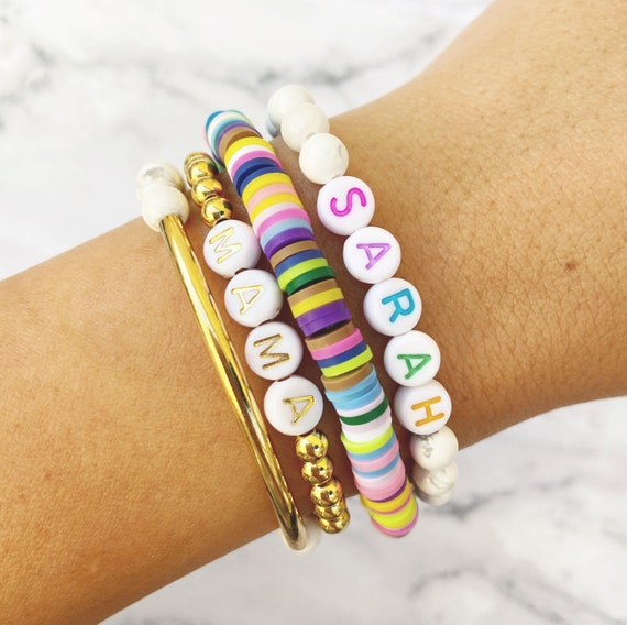 stretch set custom bracelet stackable Rainbow Letter Custom Word Bracelets by Sarahndipity Jewelry    beaded colorful letter colorful