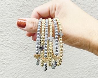 Positivity Bracelets by Sarahndipity Jewelry    beaded, stretch, stackable, gold bead bracelet, silver bead bracelet, plus, cross bracelet