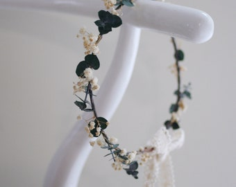 Baby's Breath Crown, Flower Crown, Flower Halo, Wedding Headpiece, Natural Floral Crown, Boho, Rustic, Olive Colour