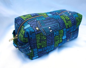Toiletry Bag - Doctor Who TARDIS- School Supplies - Pencil and Electronics case- Dopp Kit - Graduation Gift, Father's Day Gift