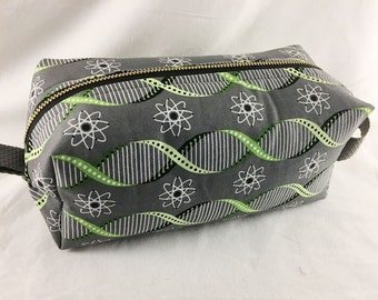 Toiletry Bag - Atoms and Double Helix- Biology- School Supplies - Pencil, Electronics case- Graduation Gift, Father's Day Gift