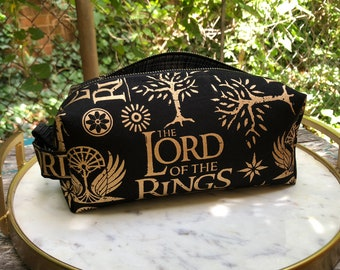 Toiletry Bag - Lord of the Rings- Black and Metallic Gold- School Supplies - Pencil, Electronics case- Graduation Gift, Father's Day Gift