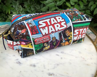 Toiletry Bag - Retro Star Wars- Empire Strikes Back- Luke, Leia, Obi Wan Kenobi - School Supplies - Electronics case- Father's Day Gift