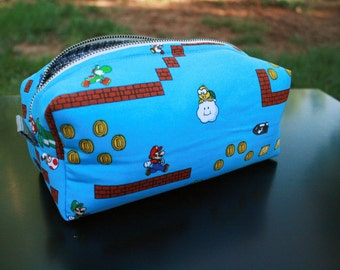 Toiletry Bag - Super Mario Brothers- Nintendo- Original Mario and Luigi- School Supplies - Pencil and Electronics case- Graduation Gift