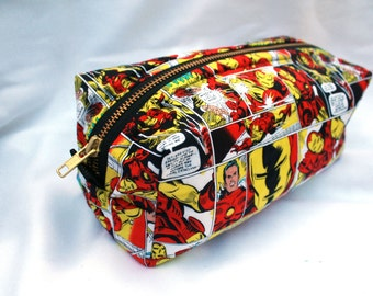 Toiletry Bag - Comic Book Iron Man - Team Iron Man- Groomsman Gift- School Supplies - Pencil and Electronics case-  Father's Day Gift