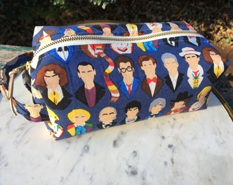 Toiletry Bag - Doctor Who -  School Supplies - Pencil and Electronics case- Peter Capaldi- Matt Smith- David Tennant- Father's Day Gift