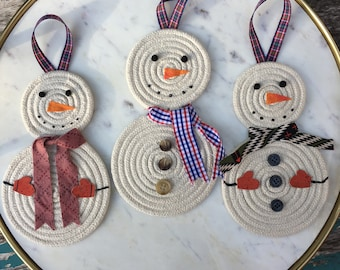 Snowman Ornament with Scarf and Mittens or Buttons - Christmas Ornament- Handmade Cute Snowmen and Snowomen