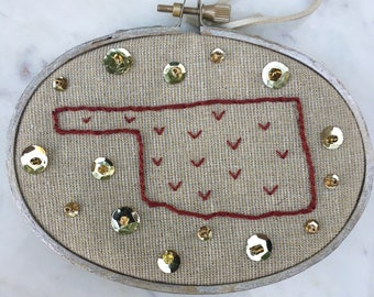 Oklahoma embroidery hoop art with sequins and beads- various designs