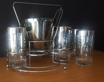 Kimiko Glasses - Set of 8 with Ice Bucket, Caddy and Tongs - Excellent Condition - Kimiko Guardian Ware Tumblers