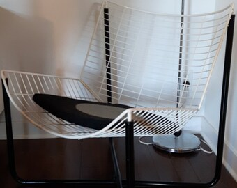 Vintage Jarpen Chair   Neils Gammelgaard For Ikea 1983   Black And White Wire  Chair   Easy Chair   Tubular Steel   Recent Ikea Cushion