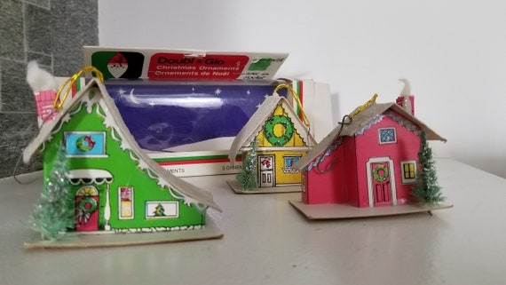Cardboard Christmas Houses.Mid Century Doubl Glo Christmas Houses In Box Putz Style Cardboard Houses X 3 Yellow Red Green Tree Ornaments Original Box