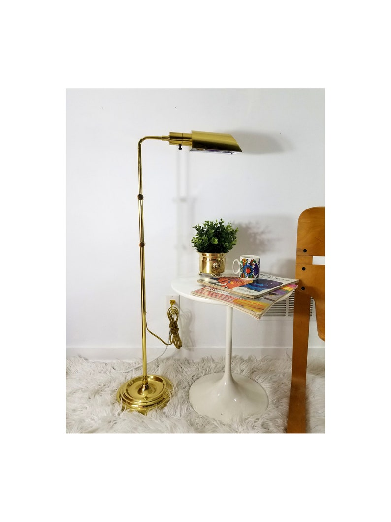 Brass Floor Lamp Reading Lamp 34 to 50 Inches Tall Adjustable Height 1980s Brass Pharmacy Lamp