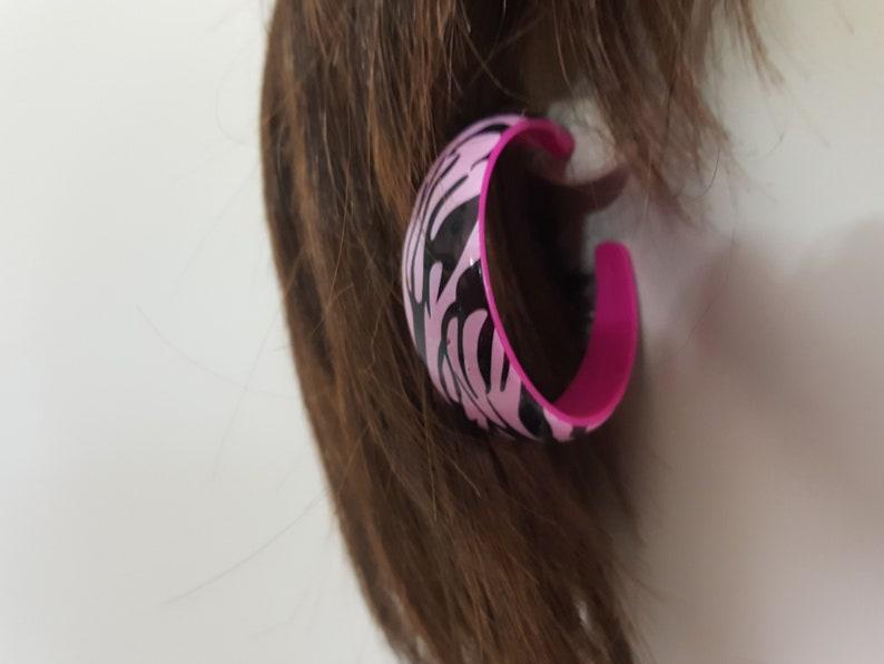 29164bb7ac479 Like, Totally 80s Pink Tiger Stripe Earrings - Vintage Pierced Back  Earrings - Pink and Black - Hoop Earrings - New Wave - Punk