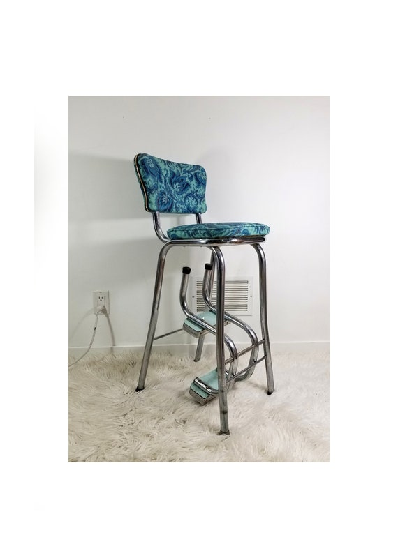 Marvelous Vintage Kitchen Step Stool Chair Chrome And Vinyl Upholstery Turquoise Floral 1960S Original Excellent Condition Machost Co Dining Chair Design Ideas Machostcouk