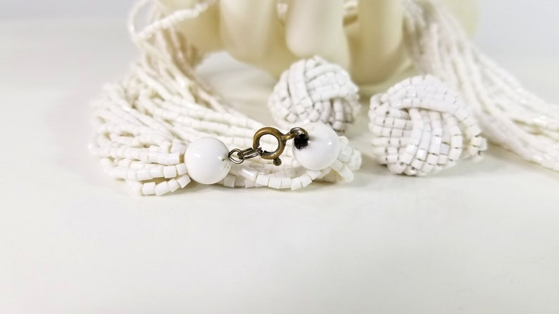 Czech Glass Vintage Jewelry 12 Strand Matching Earrings Gift for Girl Gift for Her Pure White Glass Seed Bead Necklace