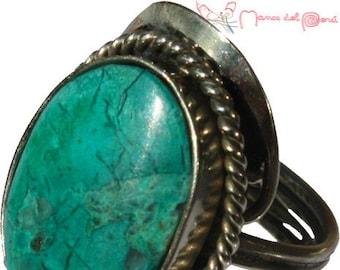 Peruvian ring, adjustable ring, ring set with semi-precious stones, handmade ring, ring with natural stones, original ring