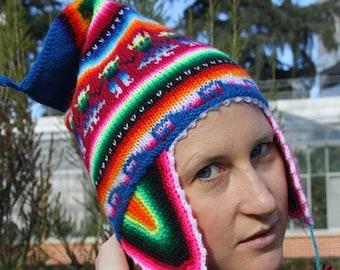 Cappello peruviano, donna peruviana bonnet, Cappello peruviano con colori  caldi, vero Peruvian Beanie, modelli peruviano Cap stilizzati