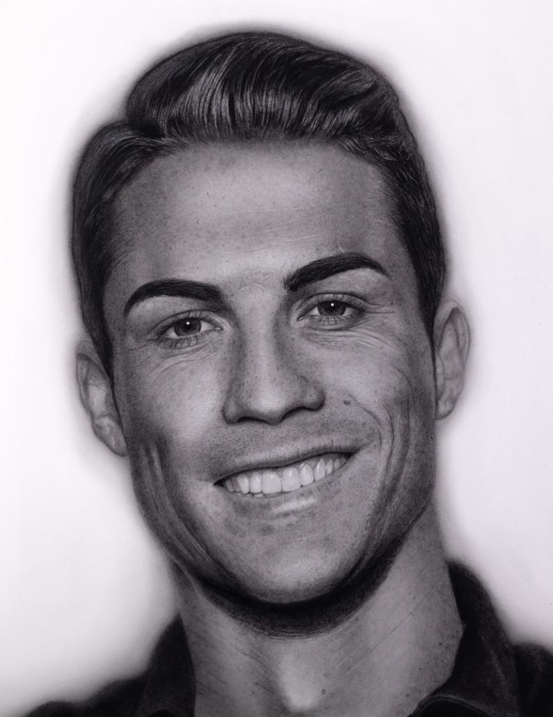 Cristiano ronaldo black and white sketch