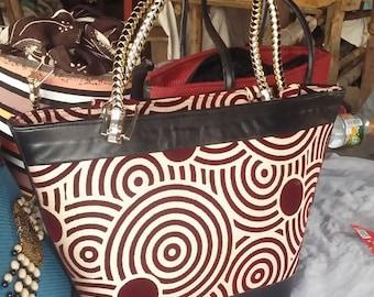 Tote handbag, ripple shape pattern, leather binding, African Handmade Purse d09a72b520