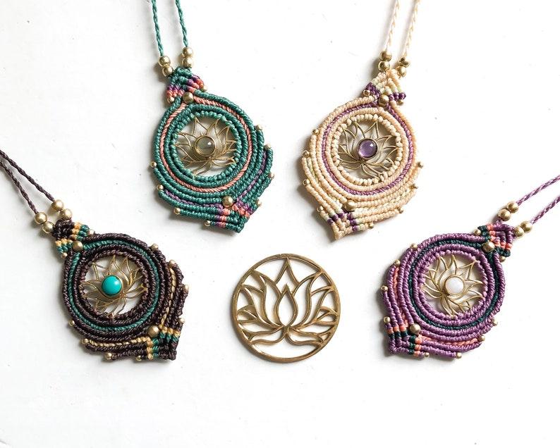 Personalized Birthstone Necklace Feminine Gift Amethyst Lotus Necklace Meditation Necklace Crystal Macrame Necklace Yoga Jewelry