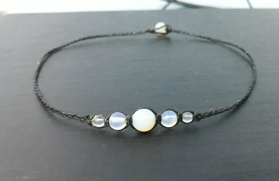 12 mm White Opal choker necklaces for Men and Women,leather necklaces,stone necklaces,beaded necklaces,gemstone necklaces