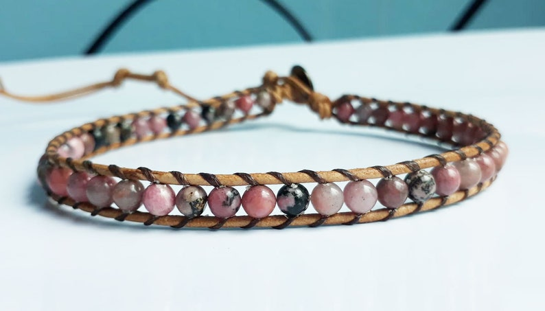 Anklets,Rhodonite stone anklets,It is fashionable for both men and women,Use as a gift.