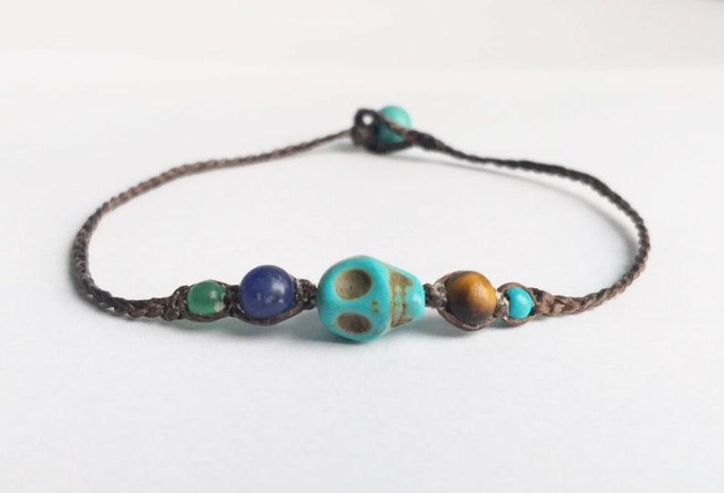 Skull turquoise stone bracelets tiger eye green jade kyanite bracelets blue brown bracelets beaded bracelets men women bracelets