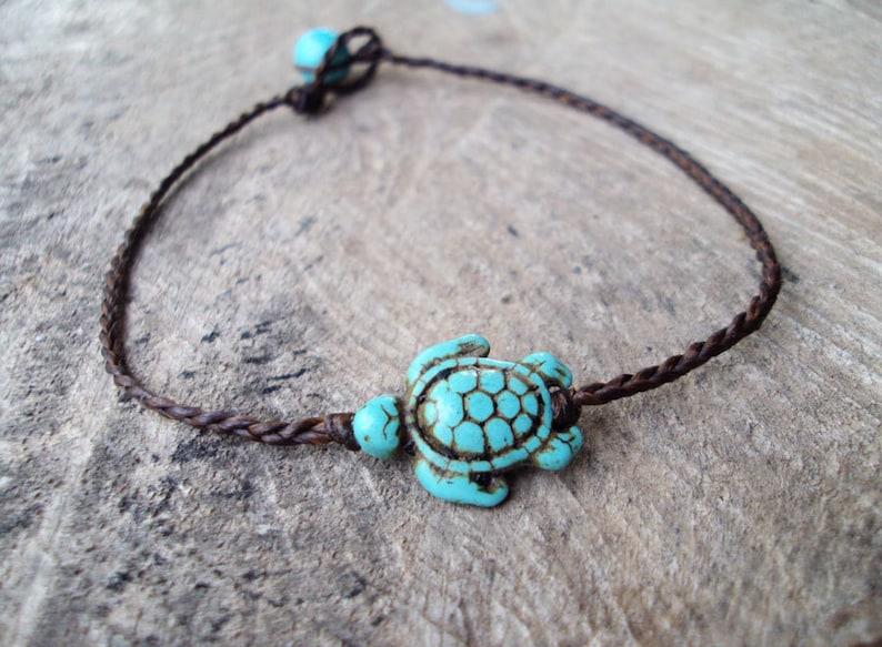 Turtle ankletsTurquoise ankletsBeadwork ankletsWomen image 0