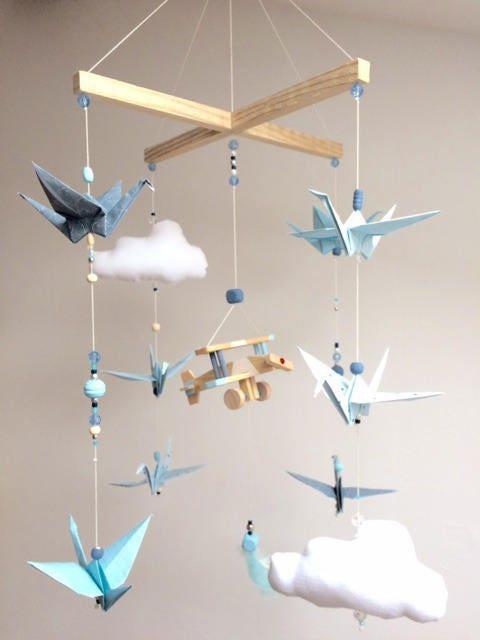mobile b b bois origamis bleu et blanc personnalis etsy. Black Bedroom Furniture Sets. Home Design Ideas