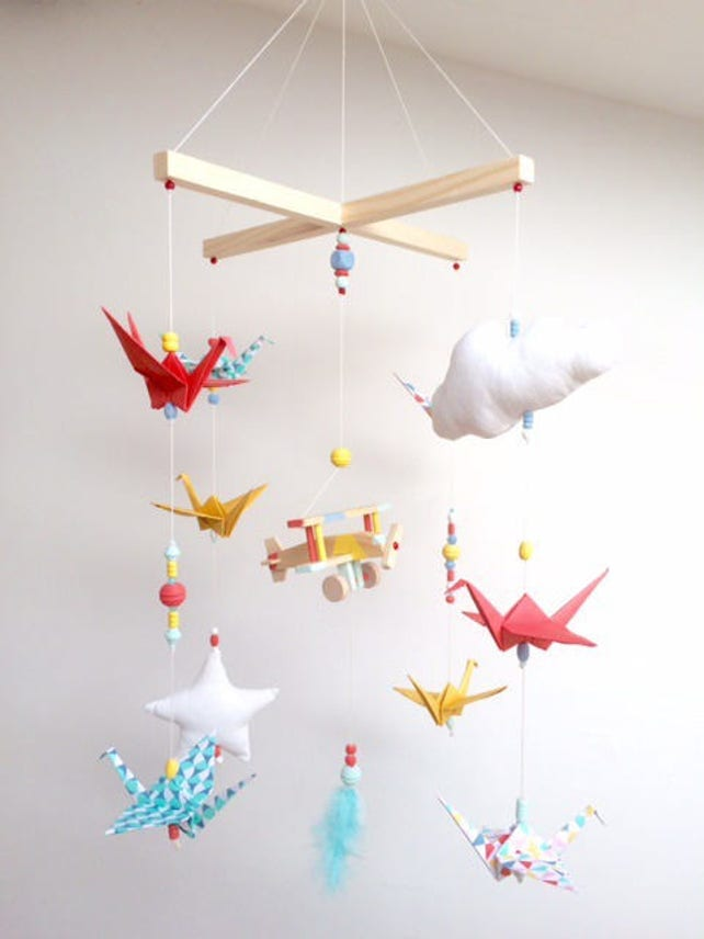 Vintage Wood Origami Baby Mobile Etsy