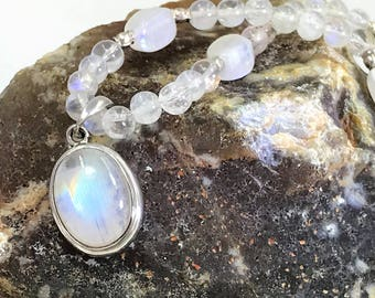 A Beautiful Sterling Silver and Moonstone Pendant on Moonstone Bead necklace